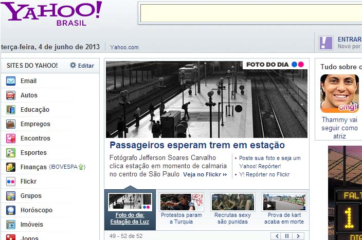 Print do site Yahoo